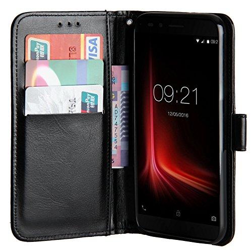 Raiphy Leder Brieftasche Hülle für Vernee Apollo lite ,Telefon schützender lederner Fall mit einem Einbauschlitz und Standfunktion (Schwarz)