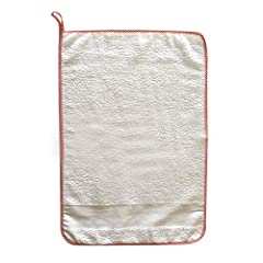 Idea Regalo - Asciugamano Bambino per asilo con inserto in Tela Aida - 100% spugna di cotone - 35 x 55 cm (Rosso)