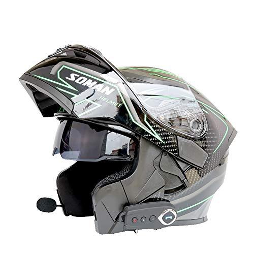 ZNDDB motorradhelm - Mit Bluetooth Elektroauto/Motorradhelm, Vollgesichtshelm, kann Das Telefon beantworten, Musik hören, Navigation, Vier Jahreszeiten universal, Bluetooth/Innenfutter entfernbar,B,L