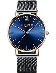Moda Simple Relojes para Hombre - Correa de Aleación Ultra-Delgado Relojes de Pulsera para