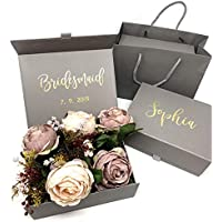 Personalised Grey Bridesmaid Gift Box with Bag | Custom Gift Box - Grey