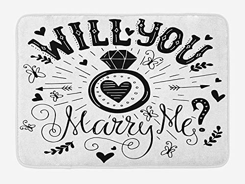 Engagement Party Bath Mat, Western Themed Will You Marry Me Quote with Hearts Celebration Image, Plush Bathroom Decor Mat with Non Slip Backing, 15.7X23.6 inch, Black and White