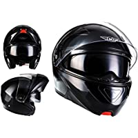 MOTO F19 Gloss Black · Modular-Helm Helmet Roller-Helm Scooter-Helm Flip-Up-Helm Sturz-Helm Cruiser Klapp-Helm Integral-Helm Motorrad-Helm · ECE zertifiziert · zwei Visiere · inkl. Stofftragetasche · Schwarz · M (57-58cm)