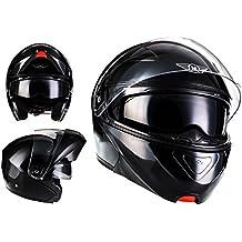MOTO F19 Gloss Black · Cruiser Moto Modular-Helmet Urban Integrale Casco da motocicletta modulare Urbano Flip-Up Scooter Sport · ECE certificado · dos viseras incluidas · incluyendo bolsa de casco · Negro · L (59-60cm)