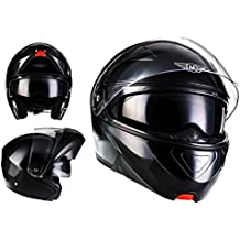 MOTO F19 Gloss Black · Moto Urban Integrale Sport Urbano Modular-Helmet Cruiser Casco da motocicletta modulare Flip-Up Scooter · ECE certificado · dos viseras incluidas · incluyendo bolsa de casco · Negro · XL (61-62cm)