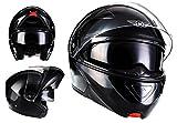 MOTO F19 Gloss Black · Sport Flip-Up Urbano Scooter Moto Urban Integrale Casco da motocicletta modulare Modular-Helmet Cruiser · ECE certificado · dos viseras incluidas · incluyendo bolsa de casco · Negro · M (57-58cm)