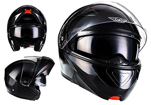 MOTO F19 Gloss Black · Roller-Helm Integral-Helm Helmet Cruiser Klapp-Helm Modular-Helm Motorrad-Helm Scooter-Helm Sturz-Helm Flip-Up-Helm · ECE zertifiziert · zwei Visiere · inkl. Stofftragetasche · Schwarz · L (59-60cm)