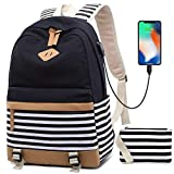 Zaino Donna Borsa Viaggio Canvas Rucksack Ragazze Adolescenti Scuola Studente Università 15.6 Pollici Laptop Notebook Taccuino Women USB Backpack Girls Travel Casual Bag Daypack Piccolo (1-Nero)