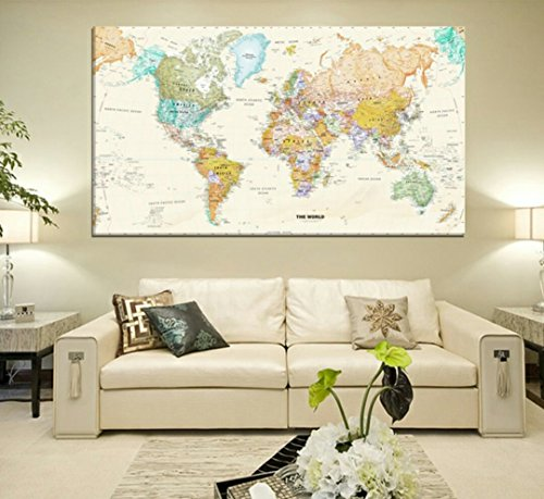 """Rand Mcnally Total Home World Map(50"""" * 32 """") Large Modern Enlish World Map Oil Painting ,(Color: Ivory)"""