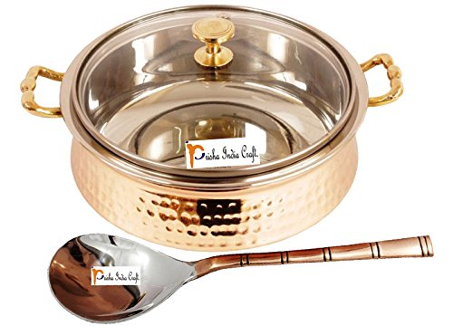 Prisha India Craft ® High Quality Handmade Steel Copper Casserole with Lid and Serving Spoon - Set of Copper Handi and Serving Spoon - Copper Bowl Dia - 5.00