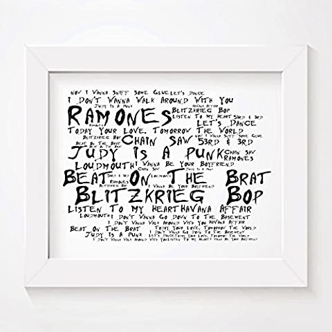 `Noir Paranoiac` Art Print - RAMONES - Ramones - Signed & Numbered Limited Edition Typography Unframed 25 x 20 cm (10 x 8 inch) Album Wall Art Print - Song Lyrics Mini Poster