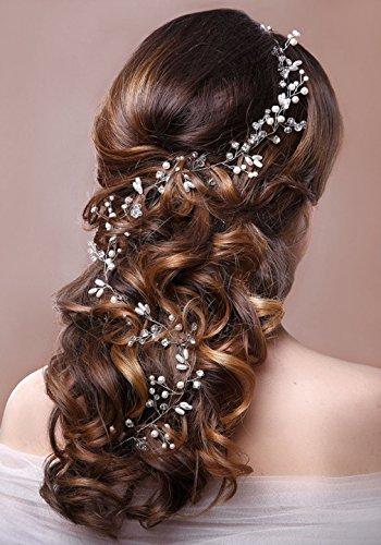 jovono Strassbesatz Haarschmuck Haar Zubehör Hochzeit Kopfband für Braut und Brautjungfer (Silber Farbe)