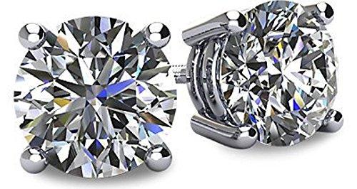 GE& Sterling Silber 4 Prong Swarovski Pure Brillianz CZ Ohrstecker CZ 1,0 bis 8,0ctw (Weißgold und Sterling-Silber, 5) ()
