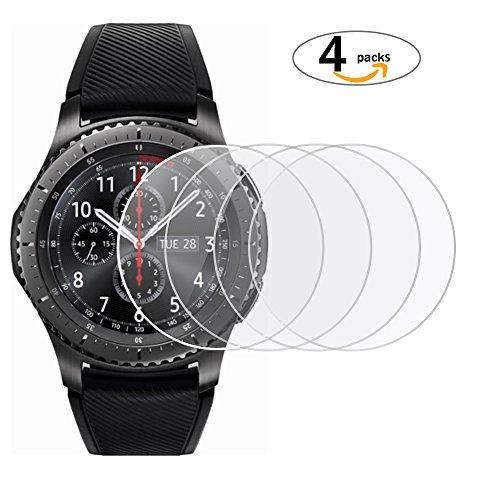 [4 Stück]Samsung Galaxy Watch Schutzfolie, Profer Panzerglas Schutzfolie für Samsung Gear S4 Smartwatch, 9H Härte, Anti-Kratzen, Anti-Öl, Anti-Bläschen