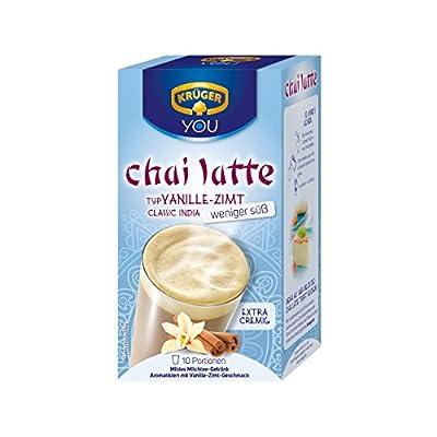 Krüger Chai Latte Classic India weniger süß, Vanille-Zimt, mildes Milchtee Getränk, 10 Portionsbeutel