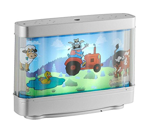 LED-Kinderlampe Kinderleuchte FARMER, Silberfarben, Bauernhof-Motiv