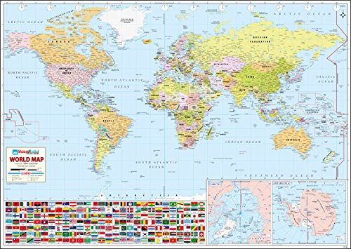 """World Wall Map - 52"""" W x 37"""" H (2017 Edition)"""