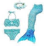 Superstar 4PCS Girls Mermaid Tail Swimsuit Princess Bikini Swimwear With Wreath (140, Blue)