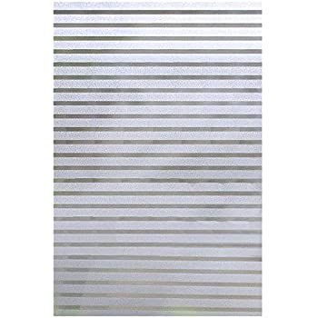 Rabbitgoo Static Window Film Bathroom Blinds Stripe Privacy Film