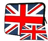 Luxburg® Design di lusso morbido manicotto protettivo con tappetino per mouse per laptop/notebook–25,4cm Big rosso e bianco flowers-parent Union Jack 13''