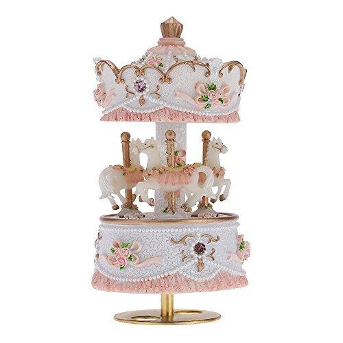 ammoon Laxury Baseball 3-horse Karussell Musik Box Creative Artware/Geschenk Melodie Castle in the Sky pink/lila/blau/gold Schatten für Option rose -
