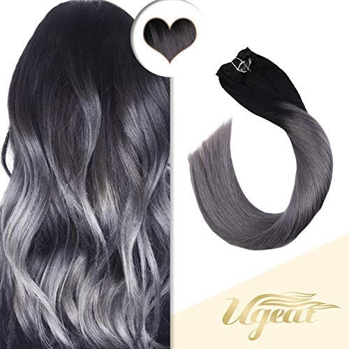 【8% Rabatt】Ugeat 45 cm Clip in Extensions Echthaar Ombre Schwarz zu Silber 7pcs/120g 100% Remy Echthaar für Komplette Haarverlängerung Glatt