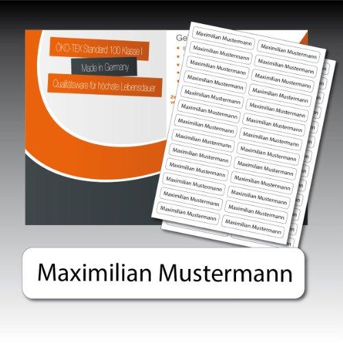 256 gedruckte Wäsche-Etiketten - weiß, schwarze Schrift - 9 mm x 55 mm (max. 25 Zeichen) - in Industriequalität zum Aufbügeln - waschmaschinenfest - nicht ablösbar - von Luminess - Made in Germany