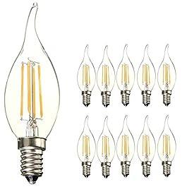 10-pezzi Lampadina Filamento LED Candela fiamma – Casquillo E14 – Potenza 4W (sostituisce 40 W) – Luce Bianca Calda (2700K) – 400 lm – Angolazione fascio luce 300°