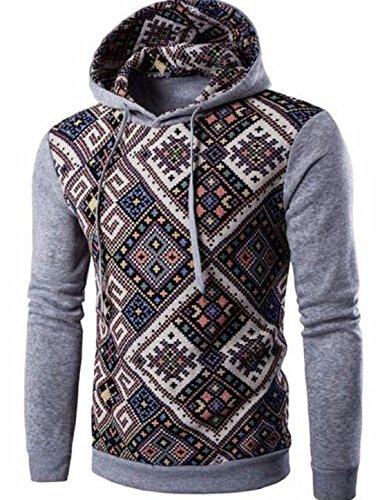 Men's Fashion Stripe Prints Slim Fit Pullover Hoodies brown