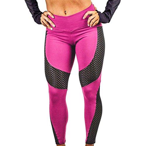 Pantalon de Sport ❤ Femmes leggings Fitness Yoga Pantalons athlétiques ❤ Pantalon Épissage Workout leggings Fitness Sports gym Running yoga pantalons athlétiques Hot Pink