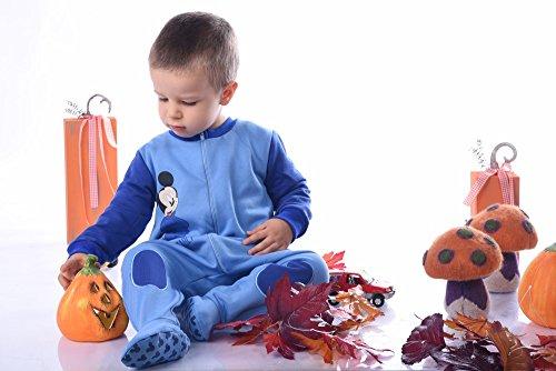 Jungen BABY-STRAMPLER mit Füßchen GEFÜTTERT von Mickey Mouse in GRÖSSE 74, 80, 86, 92, 98 in Blau, Wanzi, Baby-Schlafanzug LANG-ARM mit Reißverschluss, Spiel-Anzug, Overall Size (Bär Strampelanzug Der Pooh)