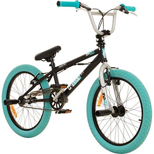 deTOX 20 Zoll BMX Juicy Rotor Pegs Freestyle Bike, Farbe:schwarz/türkis