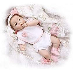 Nicery 20inch Renacido de la muñeca de silicona suave mitad Vinilo 50cm magnética Boca realista Niño Niña Vestido rosa de juguete Reborn Doll A3ES