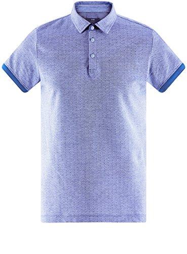 oodji Ultra Herren Poloshirt Aus Strukturiertem Stoff mit Kontrastbesatz Blau (7510J)
