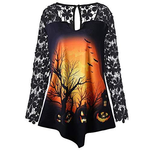 LOPILY Spitzentops Damen Halloween Shirts Kürbis Tshirts mit Spitzen Ärmel Kostüm Damen 3D Sweatshirts Halloween Sexy Party Tshirt Gruselige Muster Oberteile Damen Halloween Kostüme (Gelb, 36) (Tiger Kostüm Selbstgemacht)