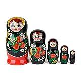Muñecas Rusas, 5 Matrioskas de Estilo Hohloma | Muñeca Babushka de Madera, Negra con Diseño de...