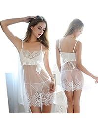 【Gioia Chavez】 Mujer Halter transparente del pijamas del cordón camisón Racy Lencería