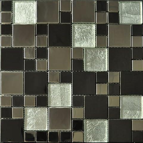 Metallic Modular Glass Mosaic. Chrome, Gloss Black & Silver (Full Sheet 30x30cm)