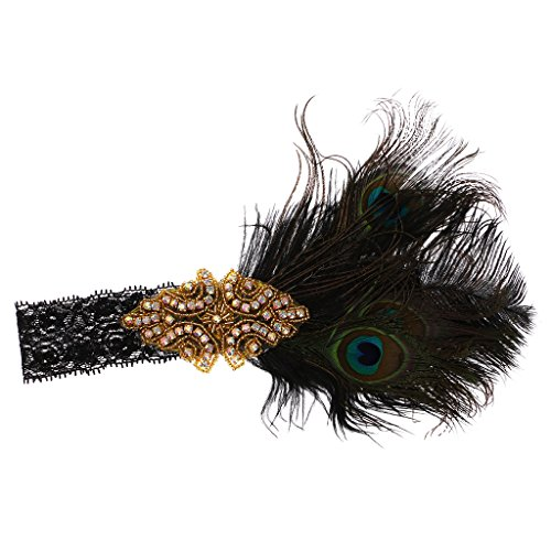 Pfau Kostüm Stirnband - Sharplace Stirnband Charleston Kostüm Schmuck - Kristall Pfau Feder