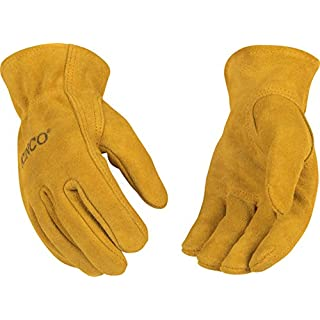 Kinco 50Y Youth's Suede Cowhide Leather Drivers Glove, Work, 7 - 12 Ages, Golden (Pack of 12 Pairs)