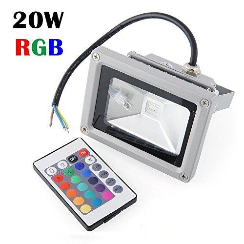Ossun a risparmio energetico, 20 W, impermeabile, per esterni, a LED con luce di Inondazione Lampada da parete, modello 200W equivalent-(20 W, RGB, colore: argento