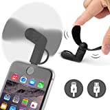 ONX3® (BLACK) LAVA Iris Fuel F1 Mini Mobile Cell Phone Portable Pocket Sized Fan Accessory 2 in 1 Connector For Android Micro USB and IOS iPhone