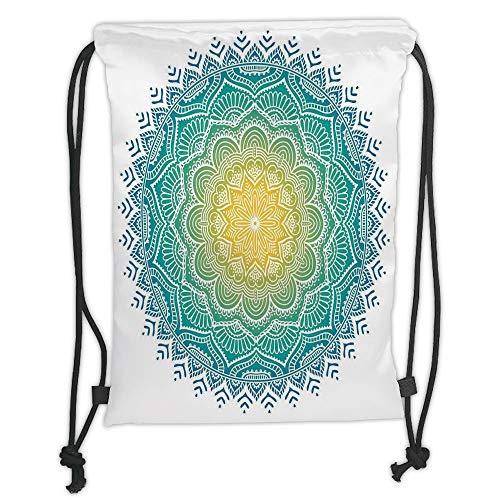 Drawstring Backpacks Bags,Mandala,Aquatic Color Mandala Pattern with Sun in Center Indian Art Meditation Zen,Yellow Green Blue Soft Satin,5 Liter Capacity,Adjustable String Closure - Green Roof Center