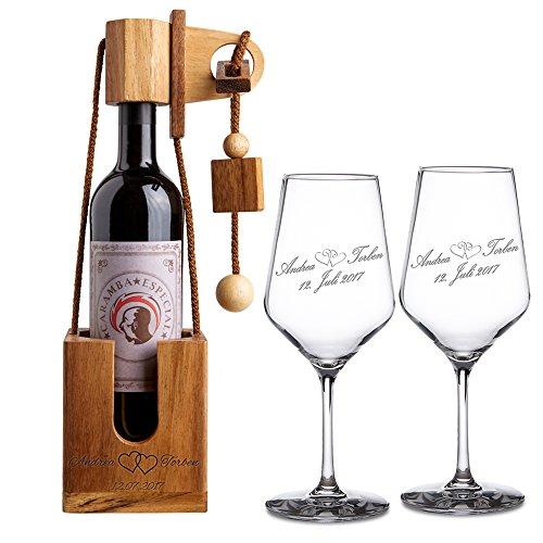 Casa Vivente Geschenkset zur Hochzeit – Weißweingläser und Flaschenpuzzle Dunkel mit Gravur – Motiv Herzen – Personalisiert mit [Namen] und [Datum] – Hochzeitsgeschenk – Geschenk für Paare