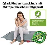 Preisvergleich für QSack Kindersitzsack Indy, mit Sitzsack Innenhülle, schadstoffgeprüfte EPS Toxproof Mikroperlen, 100x140 cm Sitzsack für Kinder, Neu (blaugrau)