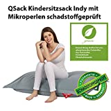 QSack Kindersitzsack Indy, mit Sitzsack Innenhülle, schadstoffgeprüfte EPS Toxproof Mikroperlen, 100x140 cm Sitzsack für Kinder, Neu (blaugrau)