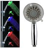 TOOGOO(R) Alcachofa Ducha de Mano Colgante ABS Color Plata 9 LED Luz 3 Colores Bano