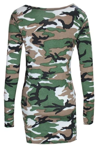 Baleza à manches longues pour femme Imprimé Camouflage Mini robe Bodycon à haut Long Vert - Army Print