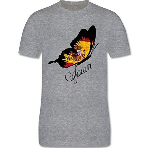 EM 2016 - Frankreich - Spain Schmetterling - Herren Premium T-Shirt Grau Meliert