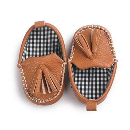 Ouneed® Krabbelschuhe , Baby Mädchen Jungen weiche alleinige lederne Schuhe weiche untere Schuhe flache Schuhe Braun